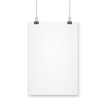 Blank A4 page hanged with paper clips on white background. Vettoriali