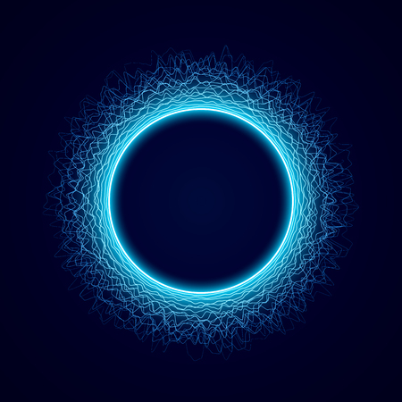 Neon circular shape of Soundwave form. Audio equalizer. Sound impulse visualization. Neon circle with dots light effect on black background. Vector illustration. Vectores