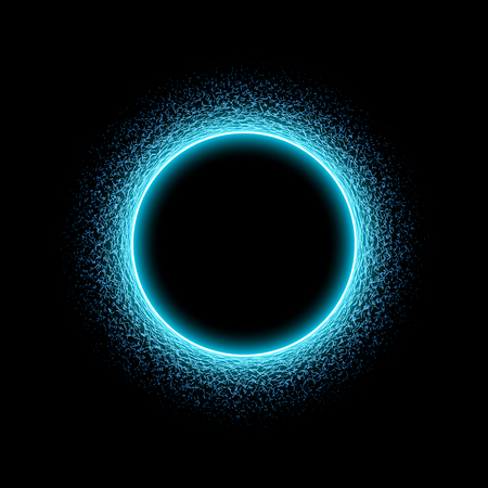 Neon circular shape of sound wave form. Neon circle with dots and waves. Light effect on black background. Vector illustration.