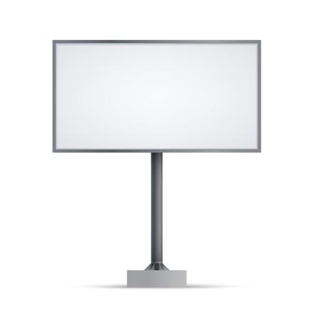 Grande tabellone per le affissioni in bianco. Mockup isolato su sfondo bianco per banner pubblicitari o design. Vettoriali