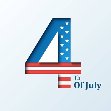 Fourth of July. American Independence Day. Vector illustration with USA flag for Happy Independence Day banner or poster design