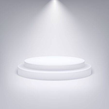 White round podium illuminated with light. Vector pedestal for product presentation.