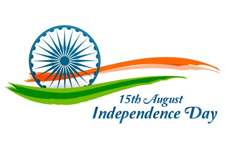 Indian Independence Day banner with flag and Ashoka wheel. Vector Illustration