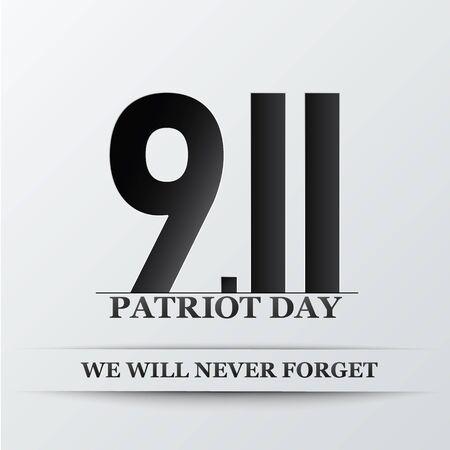 Patriot Day. We will never forget, September 11. Design for postcard, flyer, poster, banner. Vector illustration. Illustration