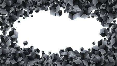 Abstract 3d cubes background. Black background with geometric cubes. Vector Illuatration Ilustração