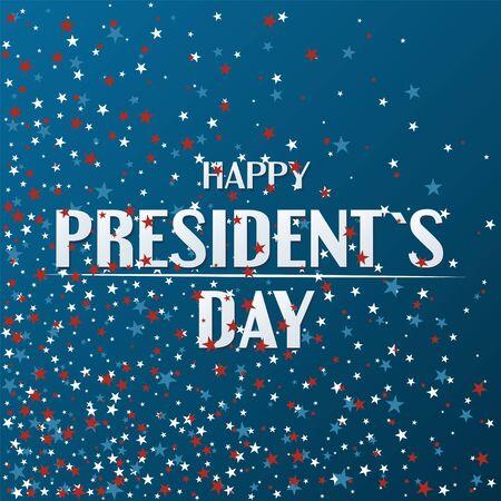 Diseño de cartel de feliz día del presidente con estrellas bandera de EE. UU.