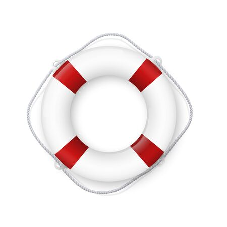 Realistic red and white lifebuoy whith a rope. Life buoy- realistic vector drawing isolated on white background