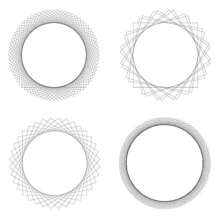 Set of 4 round decorative border frames. Design elements for logos, web, illustrations. Vector illustration