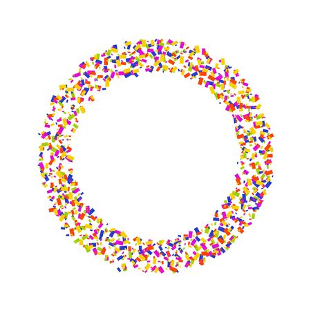 Colorful round confetti frame. Vector illustration for decoration of holidays, postcards, posters, websites, carnivals, birthday and childrens parties