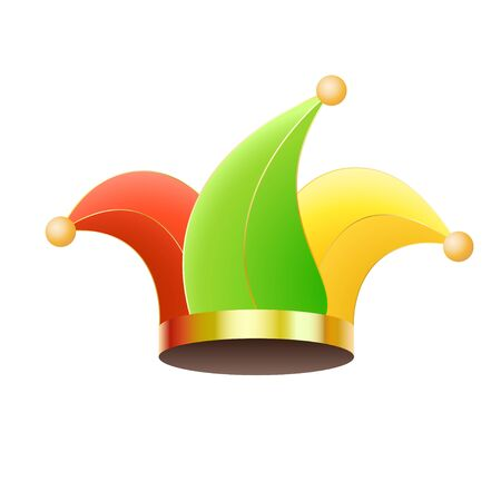 Colored jester hat isolated on the white background.