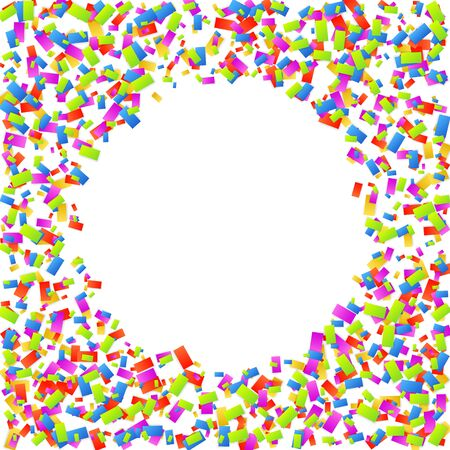 Abstract background with falling colorful confetti isolated on a white background. Vector illustration.