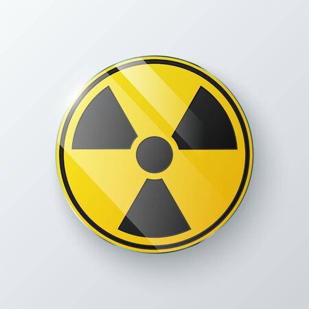 Black and yellow radioactive symbol isolated on gray background. Vector illustration