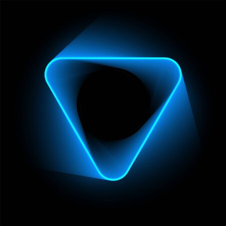 Abstract glowing neon blue triangle on dark purple background. Mesh gradient objects 向量圖像