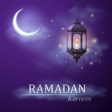 Greeting of Ramadan Kareem with a beautiful arabic lamp and crescent moon with clouds. Vector illustration.