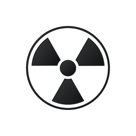Radiation symbol. Black color icon isolated on white background. Vector illustration Vettoriali