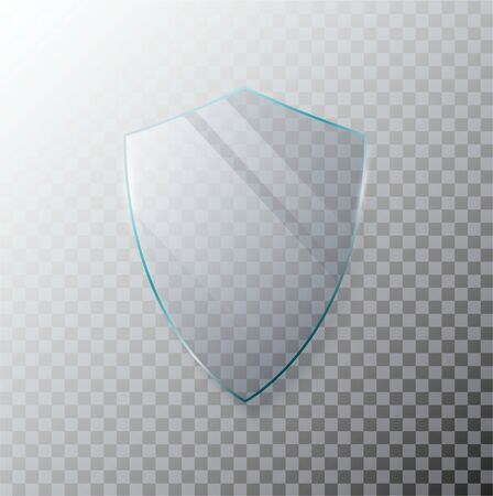 Glass transparent shield. Protective glass shield with reflection and glow on transparent background. Vector illustration