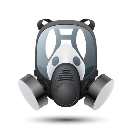 Respirator Isolated on white background. Detailed chemical gas mask respirator with protective glass and filters. Vector illustration.