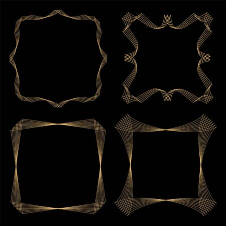 Golden geometric frames art deco style. Set of 4 trendy frames. Vector illustration