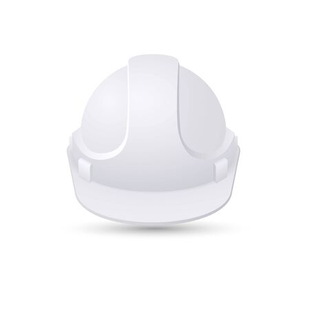 White Safety helmet isolated on white background. Work safety sign