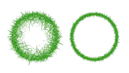 Circle grass frame with copy-space. Green grass frame isolated on white background. Vector illustration.