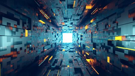 Abstract 3d architecture tunnel with light background. Design element