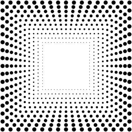 Abstract dotted background. Dots in circles on white background. Halftone effect. Vector illustration