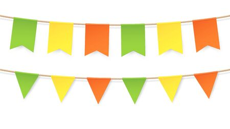 Colourful bunting in vector. Vintage flags garlands set for party, baby room and birthday