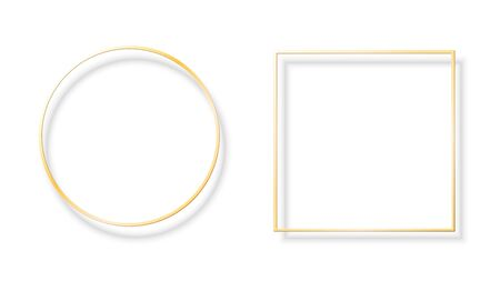 Square and round shiny gold frames with shadows Vectores