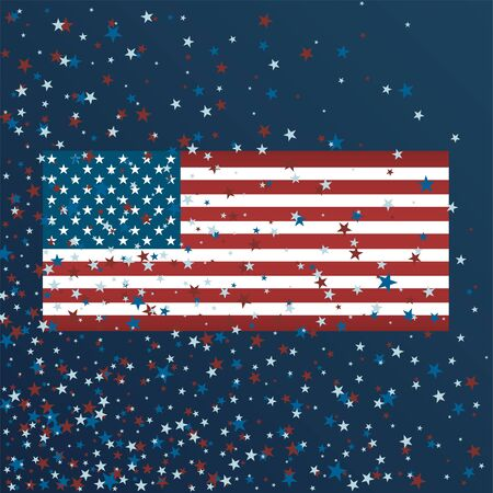 Independence Day background. Vector Illustration with stars and USA flag