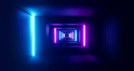 Futuristic corridor with neon lamps. Geometric endless tunnel, blue pink spectrum