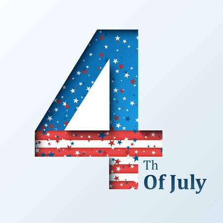 Fourth of July. Vector illustration with USA flag for Happy Independence Day banner or poster design