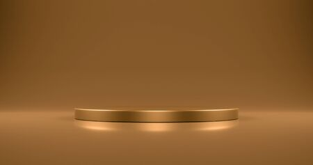 Gold circular podium on gold background. 3d rendering