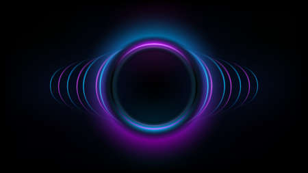Abstract neon circles banner. Design element for your advertising, poster, banner, web site. Vector illustration