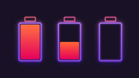 Set of neon battery charge level indicators. Vector illustration. Vettoriali