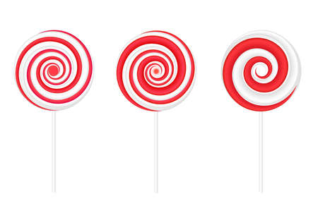 Red and white round spiral swirl lollipops. Vector illustration isolated on white background Vettoriali
