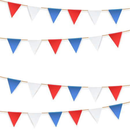 Set of patriotic bunting flags. U.S. Flag Garland. Design elements for celebration in USA and presidential election. Straight garland with flags. Vector illustration. Vettoriali