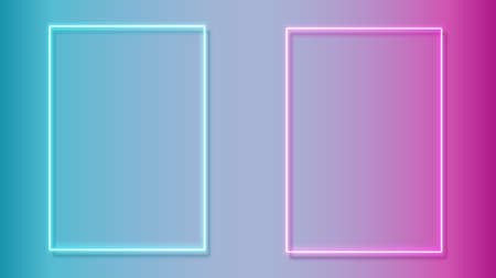 Set of colorful neon frames. Blue and pink color. Design element template. Vector illustration.