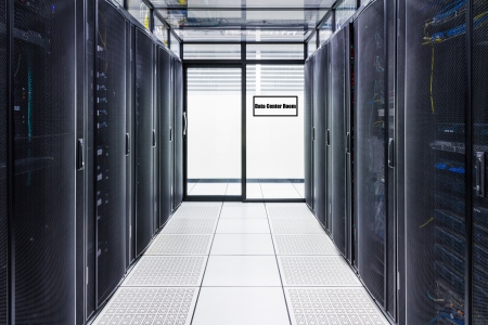 isp: Data Center and Server Room  With sign Stock Photo