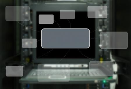 Data Center, Server, SuperComputer Zimmer Textfeld Standard-Bild