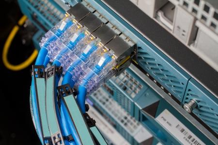 Server Netzwerk-Switch und UTP-Ethernet-Kabel Standard-Bild