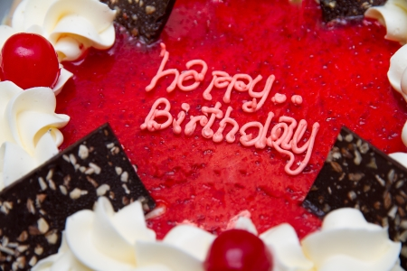 cake with icing: close up the word  Happy Birthday  on the cake  Stock Photo