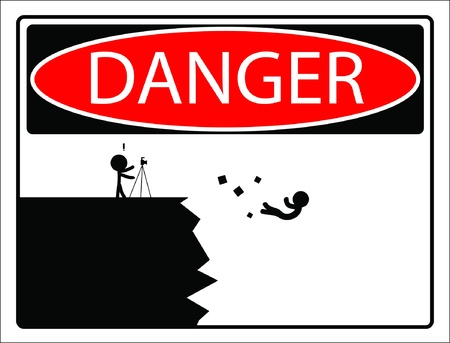 Warning sign beware fall off the cliff   Vector  Vector