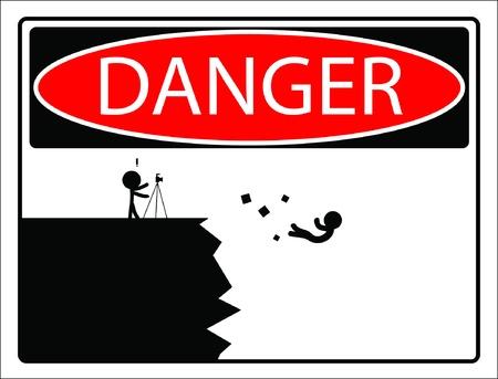 Warnschild Vorsicht fallen von der Klippe Vector