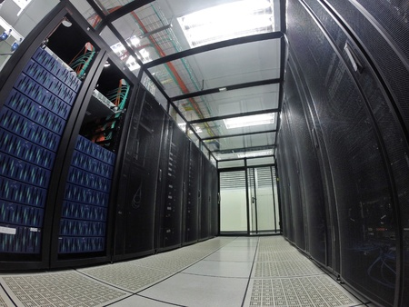 interior: Interior of modern data center, server room. Stock Photo
