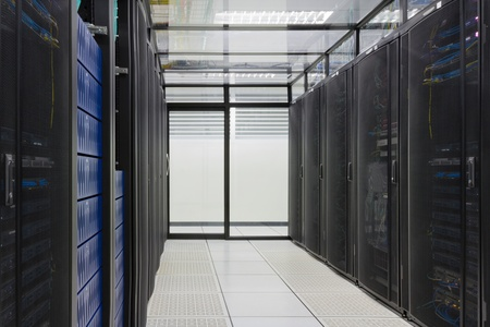 Modern interior of server room, Super Computer, Server Room, Datacenter, Data Security Center  写真素材