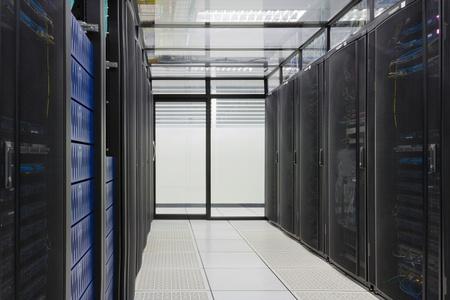 Modern interior of server room, Super Computer, Server Room, Datacenter, Data Security Center  photo