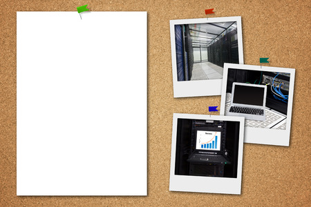 Cork board with blank paper and server room