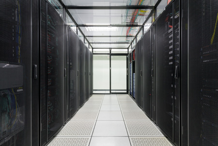 Modern interior of server room, Super Computer, Server Room, Datacenter, Data Security Center  Stock Photo