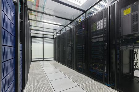 Modern interior of server room, Super Computer, Server Room, Datacenter, Data Security Center  스톡 콘텐츠