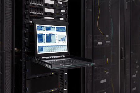 Financial revenue Information show on the server computer KVM display in the modern interior of data center  Super Computer, Server Room  Foto de archivo